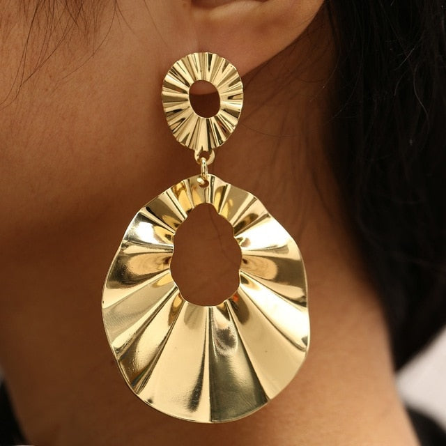 Punk Big Size Hoop Earrings Trendy Party Exaggerated Gold Silver Color Round Circle Women Jewelry