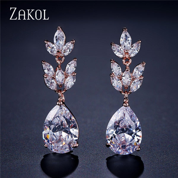 Bridal Wedding Accessories Jewelry Exquisite Teardrop Cubic Zircon Leaf Dangle Earrings Rose Gold