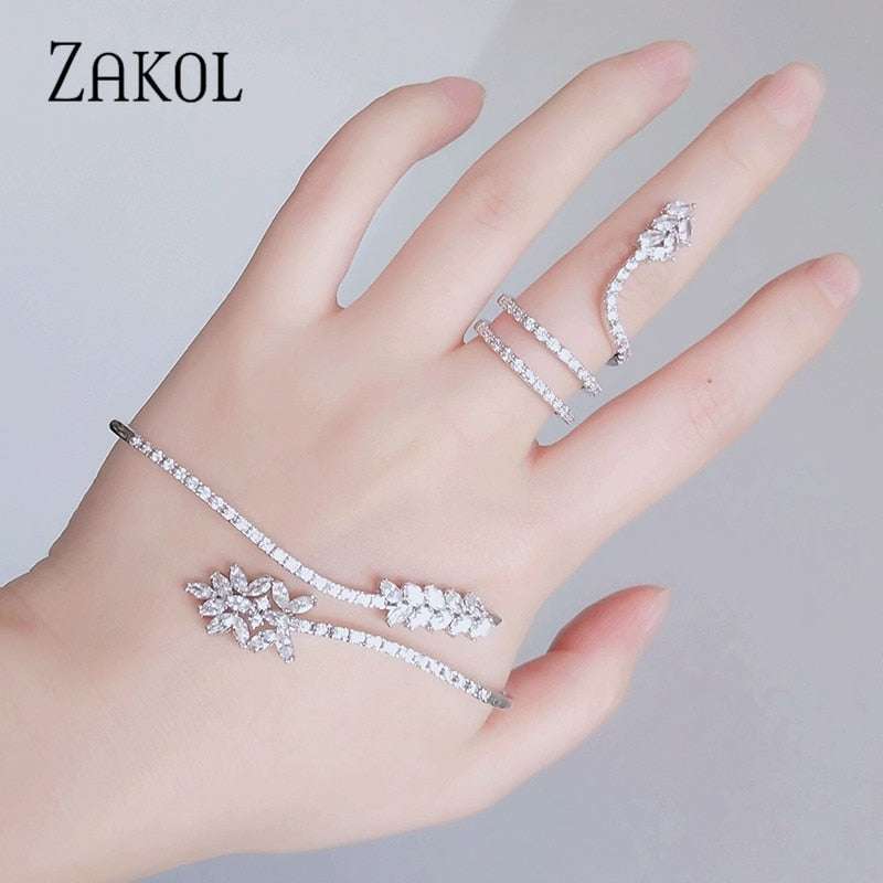 Trendy Cubic Zirconia Marquise Cut Flowers Ring Palm Bracelet Women Wedding Birthday Jewelry