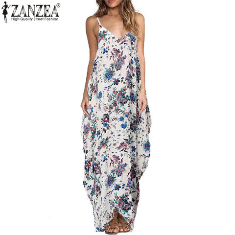 Summer Women Bohemian Floral Print Maxi Dress Spaghetti Strap Backless Casual Loose Long Beach Dresses