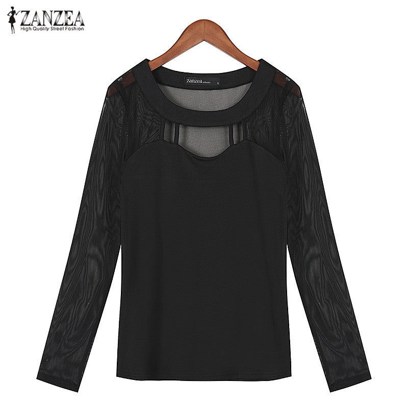Women Autumn Long Sleeve O Neck Solid Blouse Shirts Hollow Out Mesh Patchwork Blouses Tops