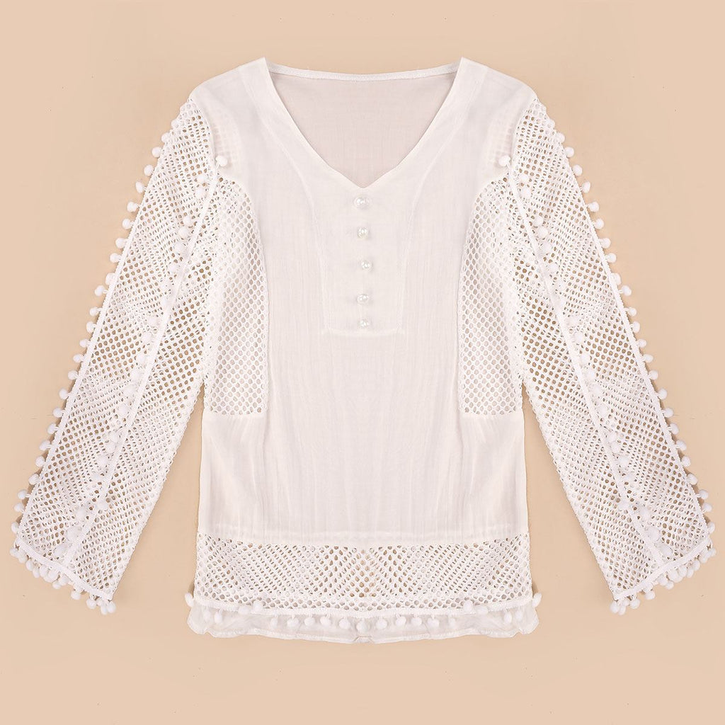 Women Blouse Spring Summer Lace White Shirt V-neck 3/4 Sleeve Hollow Casual Plus Size Chiffon Tops