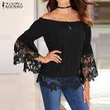 Women Slash Neck Off Shoulder Shirts Flare Long Sleeve Patchwork Lace Crochet Blouse Casual Tops
