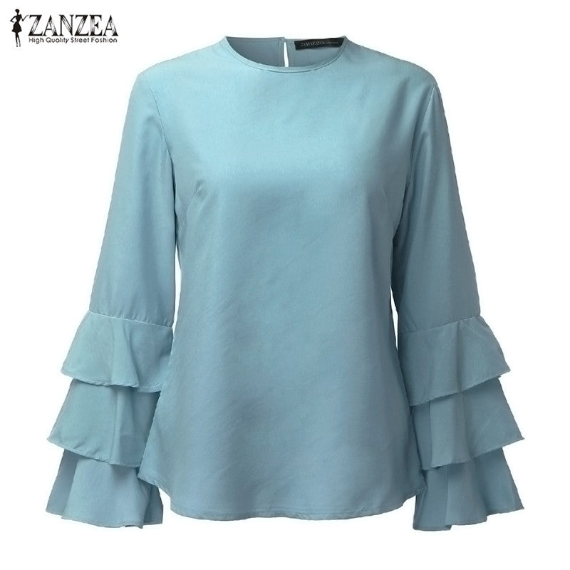 Women Blouses Shirts Autumn O-Neck Flounce Long Sleeve Solid Blouse Casual Loose Tops