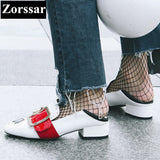 Women Pumps Square Toe High Heels Casual Soft Leather Slip-on Leisure Low Heel Shoes