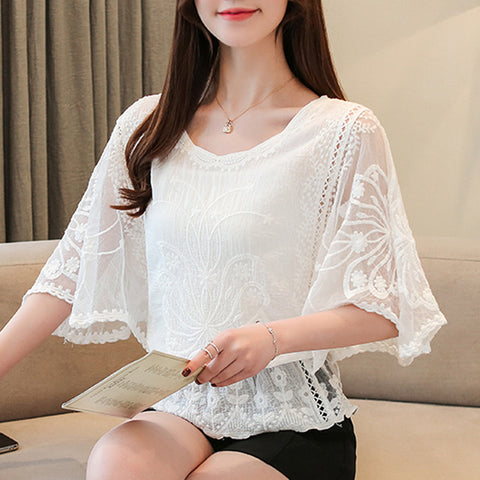 Women Blouses Summer Chiffon Cotton Edge Lace Blouses Shirt Butterfly Flower Shirt Tops