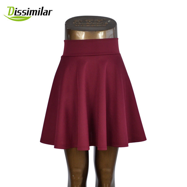 f38cf6b92c ... Flared Skater Basic Solid Color Mini Skirt Above Knee Versatile  Stretchy Pleated Casual Skirt ...