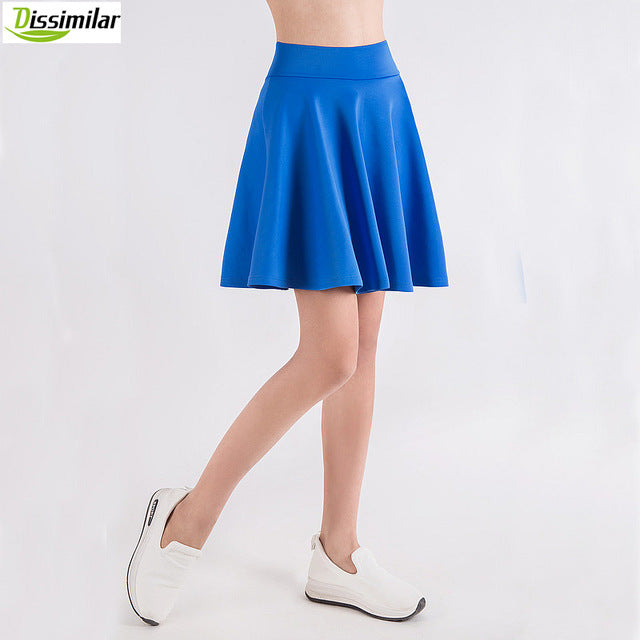 Flared Skater Basic Solid Color Mini Skirt Above Knee Versatile Stretchy Pleated Casual Skirt