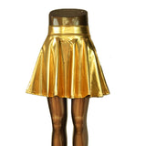 Lady Club Dance Skirts Skater Flare Skirt Above Knee Mini Skirt Metallic Liquid Golden Silvery Skirt