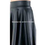 High Waist Faux Leather Skater Flare Skirt Casual Mini Skirt Knee Length Solid Color Black Skirt
