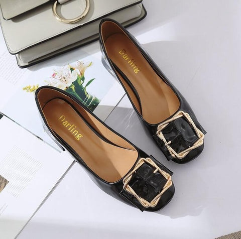 Spring Women Shoes Solid PU Leather Slip On Casual Shallow Shoes Plus Size