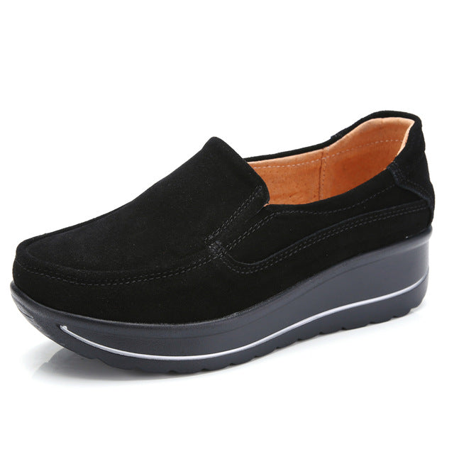 Autumn Women Flats Shoes Platform Sneakers Suede Leather Casual Shoes Slip on Flat Heels Creepers