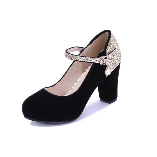 Plus Size Spring Autumn Bling Women High Heels Prom Wedding Shoes Patch Color Thick Heel Bridal Party Pump