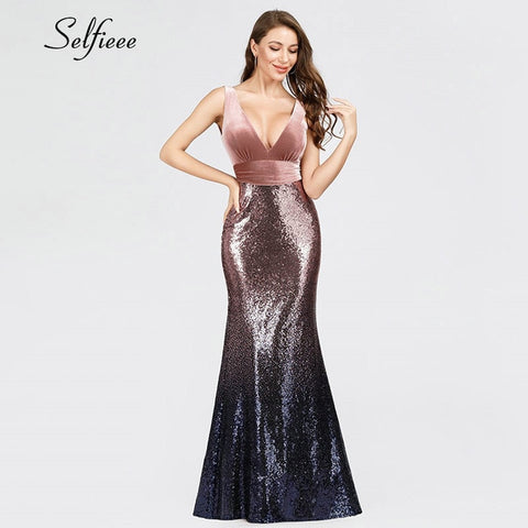 Sexy Party Dress Mermaid V Neck Velvet Spring Dresses Sparkly Sequined Bodycon Dress