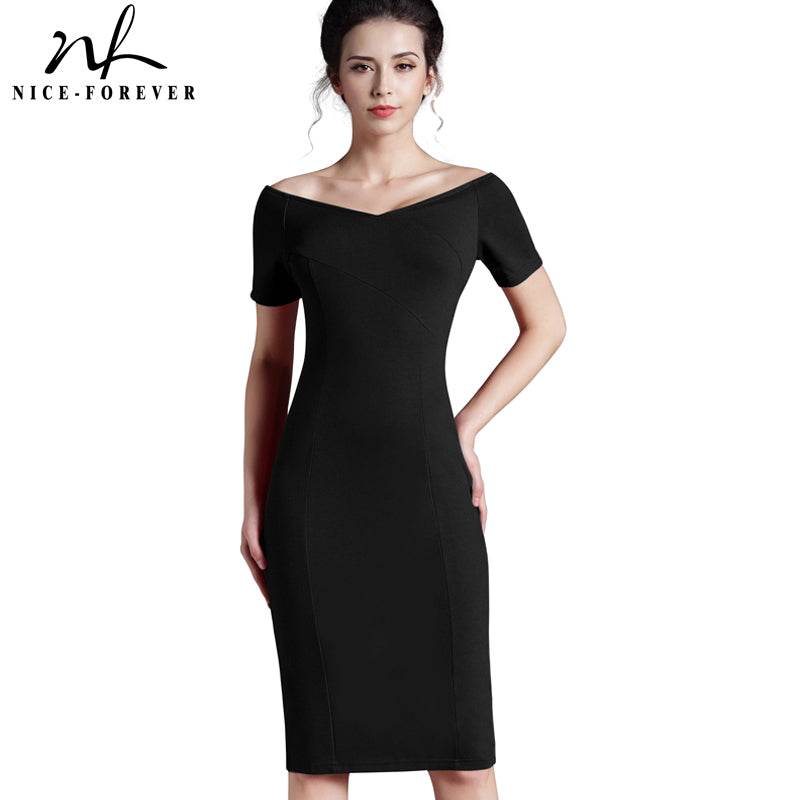 Nice-forever Casual Office Off Shoulder Work V Neck Knee-length Zipper Tunic Pencil Bodycon Dress - Clothes