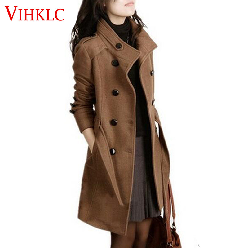 Women Trench Woolen Coat Winter Slim Double Breasted Overcoat Long Outerwear Plus Size Coat