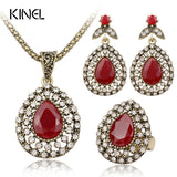 Red Jewelry Set All Over Sky Star Austrian Crystal Ancient Bronze Three-Piece Wedding Turkey Jewelry - Jewelry