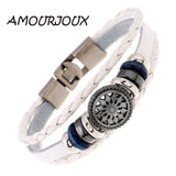 AMOURJOUX Pattern Braided Brown White Black Leather Wristband Women Men Charm Bracelets - Jewelry