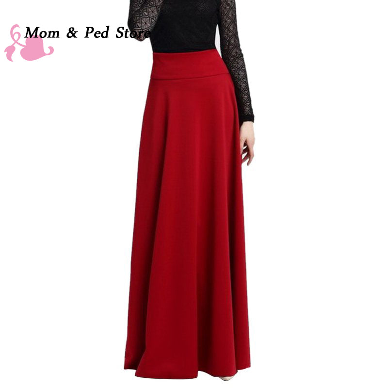 High Waist Pleat Elegant Skirt Red Black Long Skirts Ladies