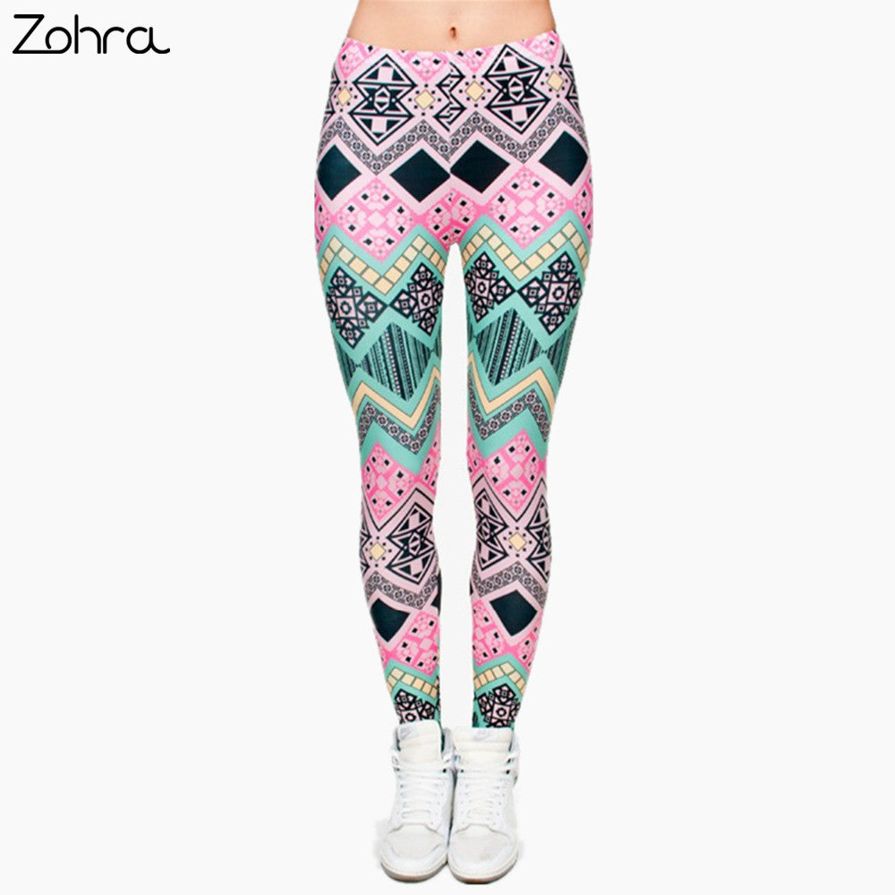 Zohra Aztec Printing Leggings Punk Women Stretchy Trousers Casual Slim Fit Pants Leggings