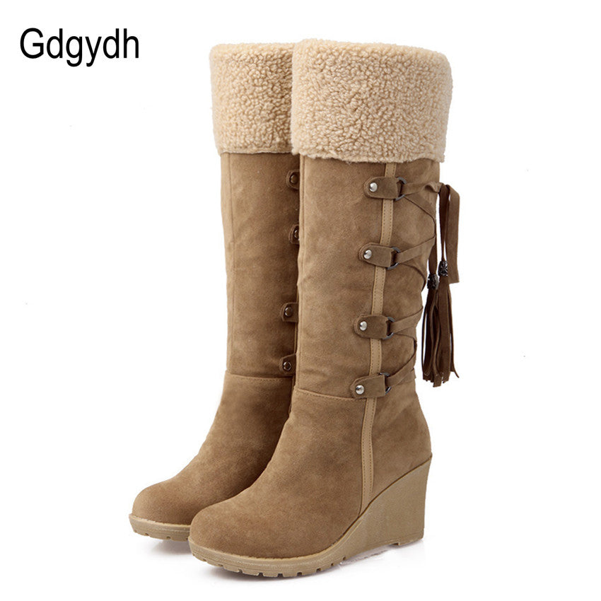 Scrub Plush Snow Boots Wedges Knee High Slip Resistant Boots Thermal Cotton Padded - Shoes