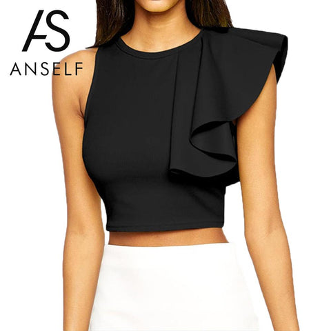 Anself Ruffle Crop Top Sexy Cropped Tank Top Feminine Back Zipper Sleeveless Bustier Black Crop Tops