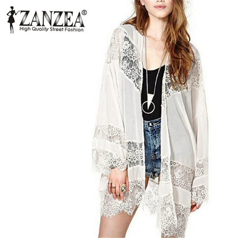 Cover-Up Women Boho Kimono Cardigan Lace Crochet Chiffon Loose Outwear Vintage Blouse Tops