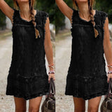 Zanzea Summer Sexy Women Casual Sleeveless Beach Short Dress Tassel Solid White Mini Lace Dress
