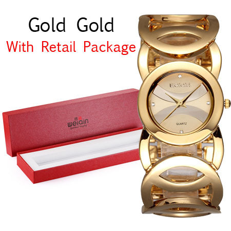Crystal Gold Analog Girl Watches Bracelet Quartz Watch Shock Waterproof Stainless Steel Wrist Watch - Jewelry