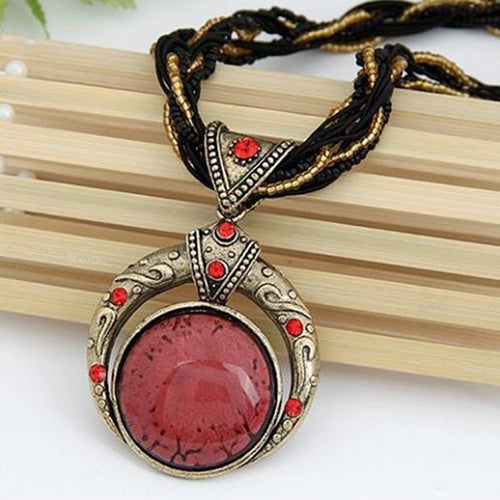 Bohemian Necklace Popular Retro Multilayer Beads Chain Crystal Gem Grain Pendant Necklace - Jewelry