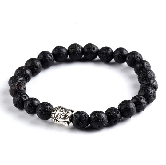 Men's Bracelet Gold Silver Buddha Skull Elastic Black Color Beaded Tibet Charm Lucky Bracelets - Jewelry