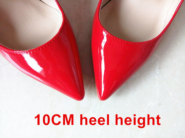 Woman High Heels Pumps Red 12CM Shoes High Heels Wedding Pumps Black Nude Shoes Heels - Shoes
