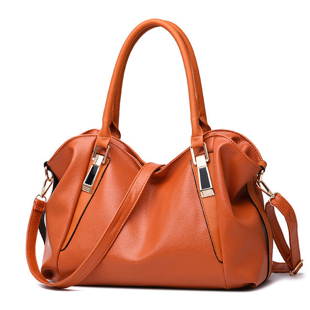 Herald Women Handbag PU Leather Portable Shoulder Bag Office Ladies Hobos Totes Bag