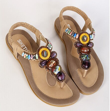 Summer Flat Sandals Ladies Bohemia Beach Flip Flops Shoes Gladiator Women Shoes Sandles Platform - Shoes