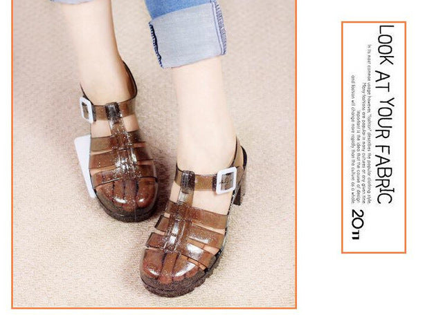 Koovan Women Sandals Summer Retro Crystal Thick Transparent Plastic Sandal T-Roman Jelly - Shoes