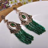 Vintage Green African Beads Big Drop Earrings Women Turkish Max Brincos Jewelry - Jewelry