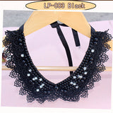 Vintage Black Lace Beaded Collar Choker Necklace Fake Women 's Accessories Sweet Collar - Jewelry