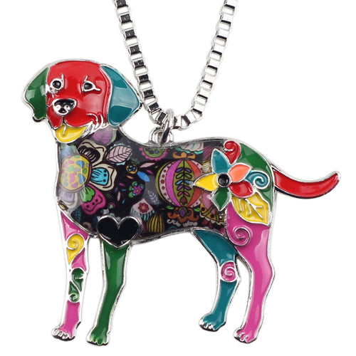 Bonsny Statement Maxi Alloy Enamel Labrador Dog Choker Necklace Chain Pendant Collar Jewelry - Jewelry