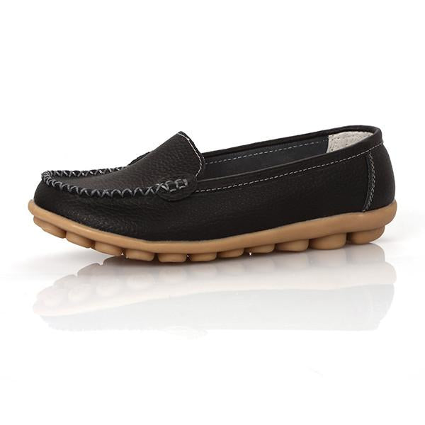 Women genuine Leather Shoes Slip on women Flats Comfort shoes woman moccasins Spring summer shoes - Shoes