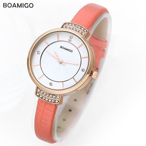 Boamigo Quartz Watches Ladies Bracelet Watch Delicate Leather Rhinestone Watches Waterproof - Jewelry