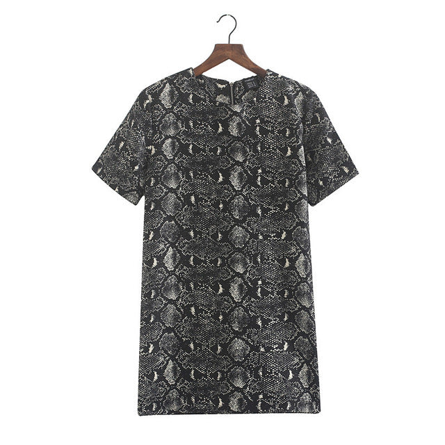 Women Vintage Snake Skin Dress Vestido O Neck Short Sleeve Wild Animal Pattern Casual Dress