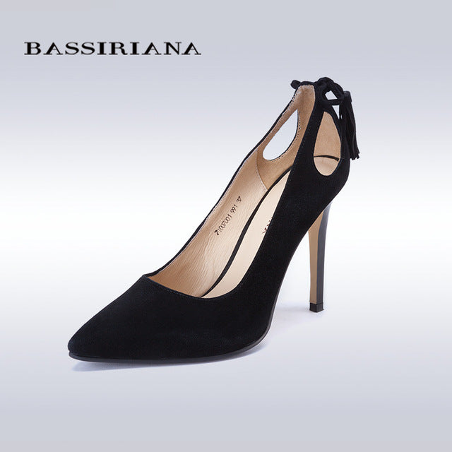 High heels shoes woman Genuine suede leather Pumps Thin Spike Heel Pointed Toe Spring BASSIRIANA - Shoes
