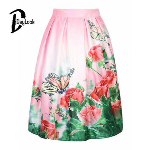 DayLook Summer Floral Print Vintage Pleated Skater Midi Skirt High Waist Ball Gown Elegant Skirt