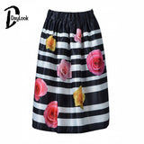 Daylook Skirts Women Rose Ane Polka Dot Stripe Print Midi Skirt Summer Elegant Vintage Pleated Skirt