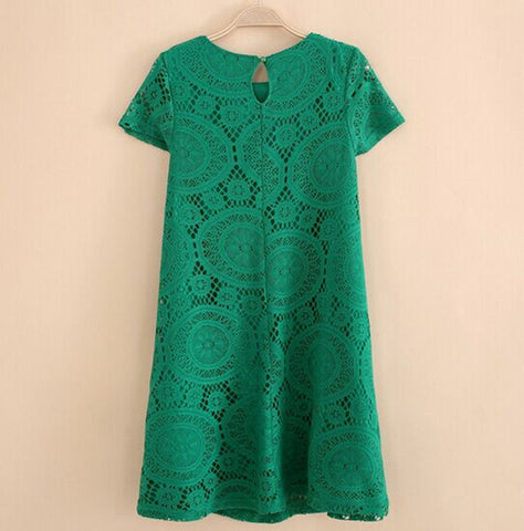 HEE GRAND Dress Western Style Lace Short Sleeves O-neck Solid Dresses