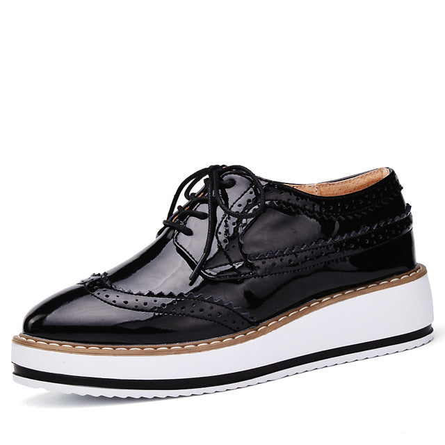 Spring Women Platform Shoes Brogue Patent Leather Flats Lace Up Footwear Flat Oxford - Shoes