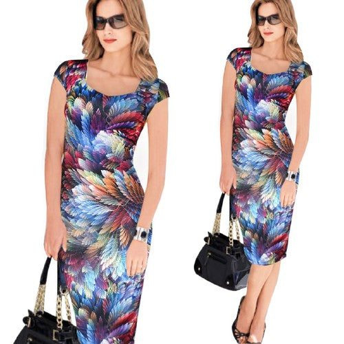 Belted Elegant Floral Print Check Cap Sleeve Tunic Work Casual Party Pencil Sheath Wiggle Dress - Clothes