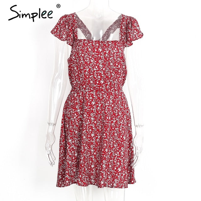 Simplee Backless Navy Floral Print Short Dress Back Strap Summer Dress Vintage Red Boho