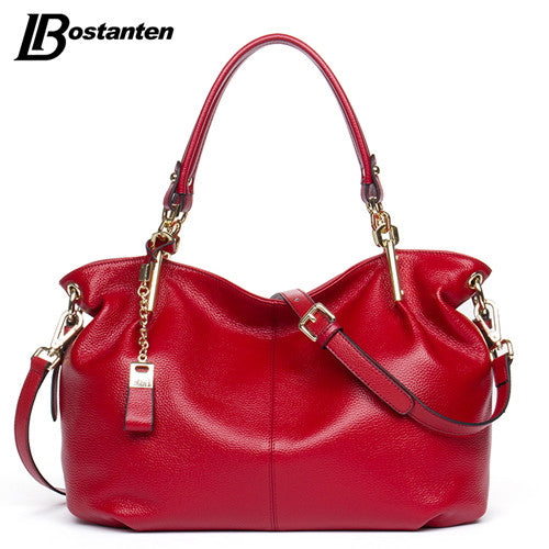 BOSTANTEN Casual Tote Women Shoulder Bags Cow Genuine Leather Designer Brand Hobo Crossbody Bags