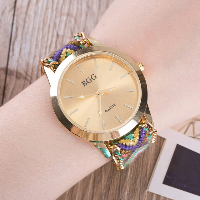 Handmade Braided Bracelet Watch Geneva Hand-Woven Wristwatch Ladies Quarzt Gold Watches - Jewelry